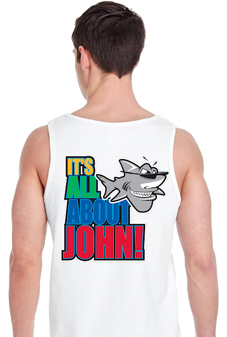 It's all about John! men's cute tank tops - John the Shark